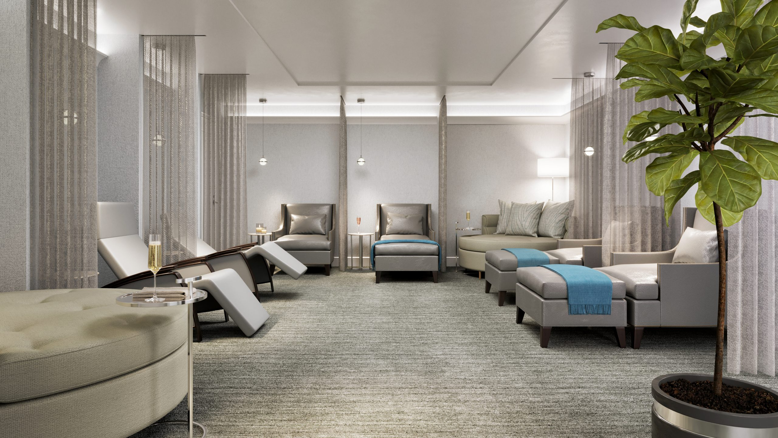 Ritz-Carlton New Orleans Spa - Womens Lounge 3D render
